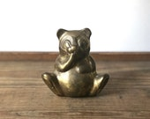 Vintage brass teddy bear figurine | teddybear figure | brass animal | nursery decor