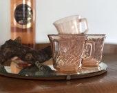 Vintage Fortecrisa pink depression glass teacups | set of four blush mugs |