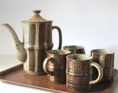 Vintage pottery coffee set with pot and mugs | ceramic stoneware teapot and cups |