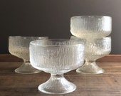 Vintage dessert bowls | Indiana Glass Crystal Ice | textured ice cream sherbet dishes  | compote