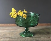 Vintage E. O. Brody green pedestal candy dish | glass bowl | compote