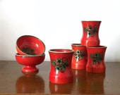Vintage rare red orange Zell am Harmersbach cups and bowls | set of four vintage MCM mugs and two bowls | West German pottery