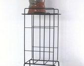 Vintage midcentury black metal wire record rack | mid century phonograph holder | indoor plant stand | houseplant table | magazine