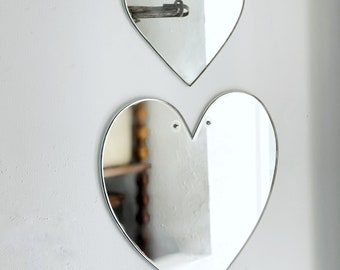 Vintage frameless heart wall mirror | small mirror | hallway | bedroom