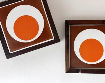 Vintage midcentury ashtray and box | wood and tile | geometric | incense holder