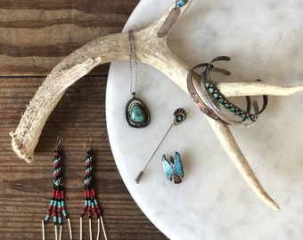 Vintage Native American jewelry | sterling silver | bear claw stick lapel pin | cuff earring | turquoise coral chip inlay peyote bird