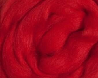 Merino Wool Roving Red 4 ounces