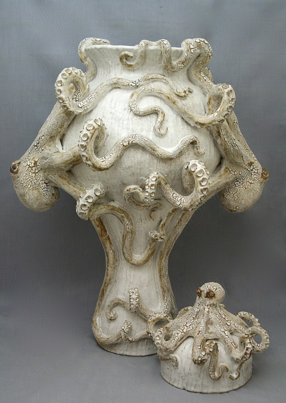 Giant Ceramic Octopus Vase Urn By Shayne Greco Beautiful Etsy