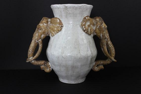Large Ceramic Double Elephant Vase By Shayne Greco Beautiful Etsy