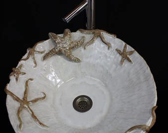 Large Hand made Ceramic Starfish Vessel Sink by Shayne Greco Beautiful Mediterranean Pottery