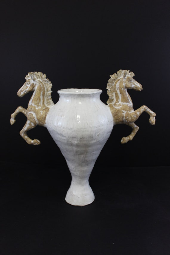 Large Ceramic Horse Vase Urn By Shayne Greco Beautiful Etsy