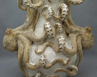 Large Ceramic Octopus Vase by Shayne Greco Beautiful Mediterranean Sculpture Pottery