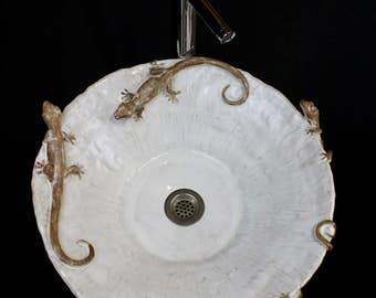 Large Hand made Ceramic Gecko Lizard Vessel Sink by Shayne Greco Beautiful Mediterranean Pottery