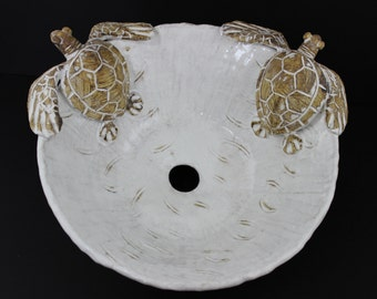 Large Hand made Ceramic Sea Turtle Vessel Sink by Shayne Greco Beautiful Mediterranean Pottery
