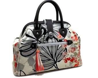 9d7fead0e4 Pronto a nave Mary Poppins stile tappeto borsa borsa nera grigio floreale  rosso vera pelle