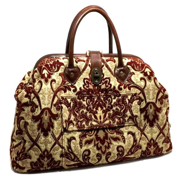 b1a9f291020 Large Mary Poppins Style Carpet Bag Crimson Damask Real