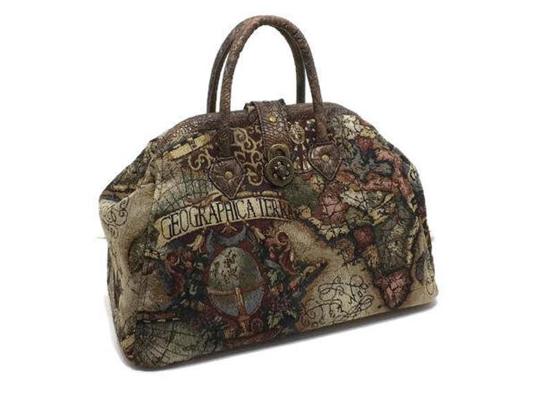 76feb2f96cd Steampunk Old World Map Medium Mary Poppins Style Carpet Bag