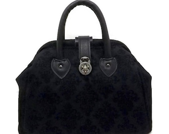 Black on Black Embossed Denim Mary Poppins Style Carpet Bag with Real Leather Accents/ Medium Handbag / Travel Bag