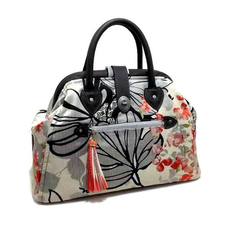 c374bcd960b Ready to Ship Mary Poppins Style Carpet Bag Handbag Black Gray