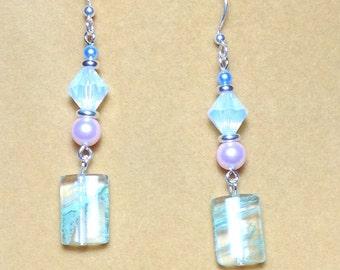 SALE  Swarovski Crystal and Pearl Soft Seafoam green earrings - Crystal earrings - Pearl earrings - Crystal earrings