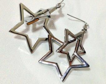 Silver Double Star Dangle Earrings / Star Earrings / Double Star Earrings / Silver Star earrings / Silver earrings/