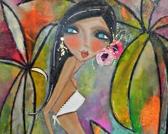 Miami Sunset 11x14 ORIGINAL artwork FREE SHIP