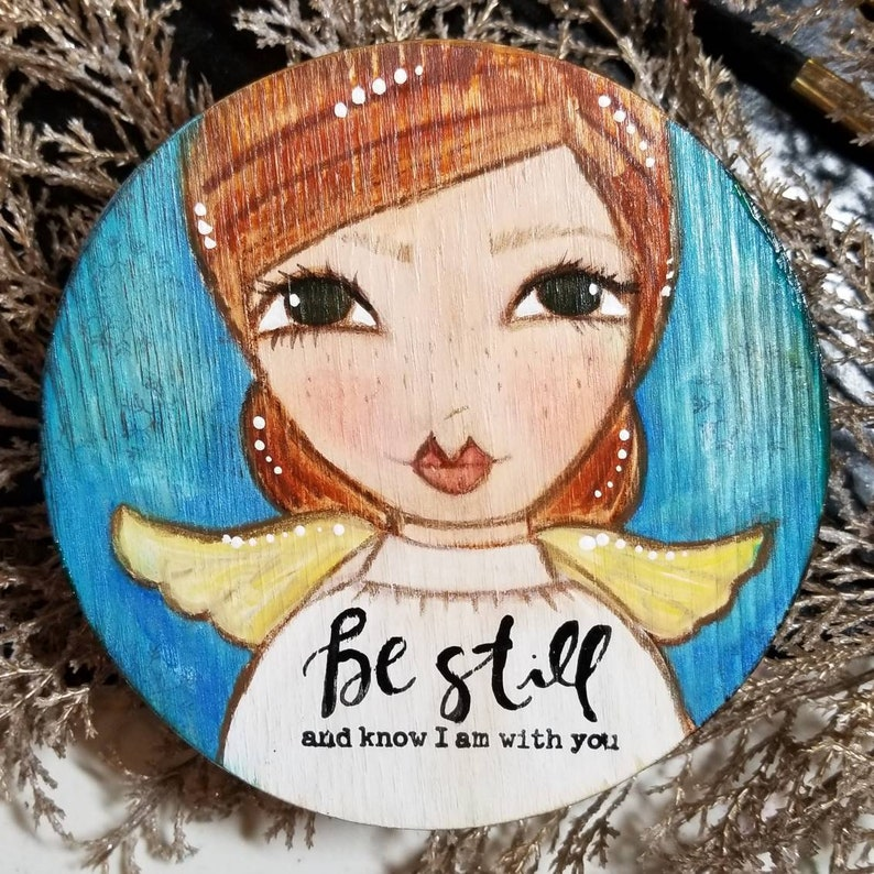 Be still. Angel original art. Mini art. Christian art. Great image 0