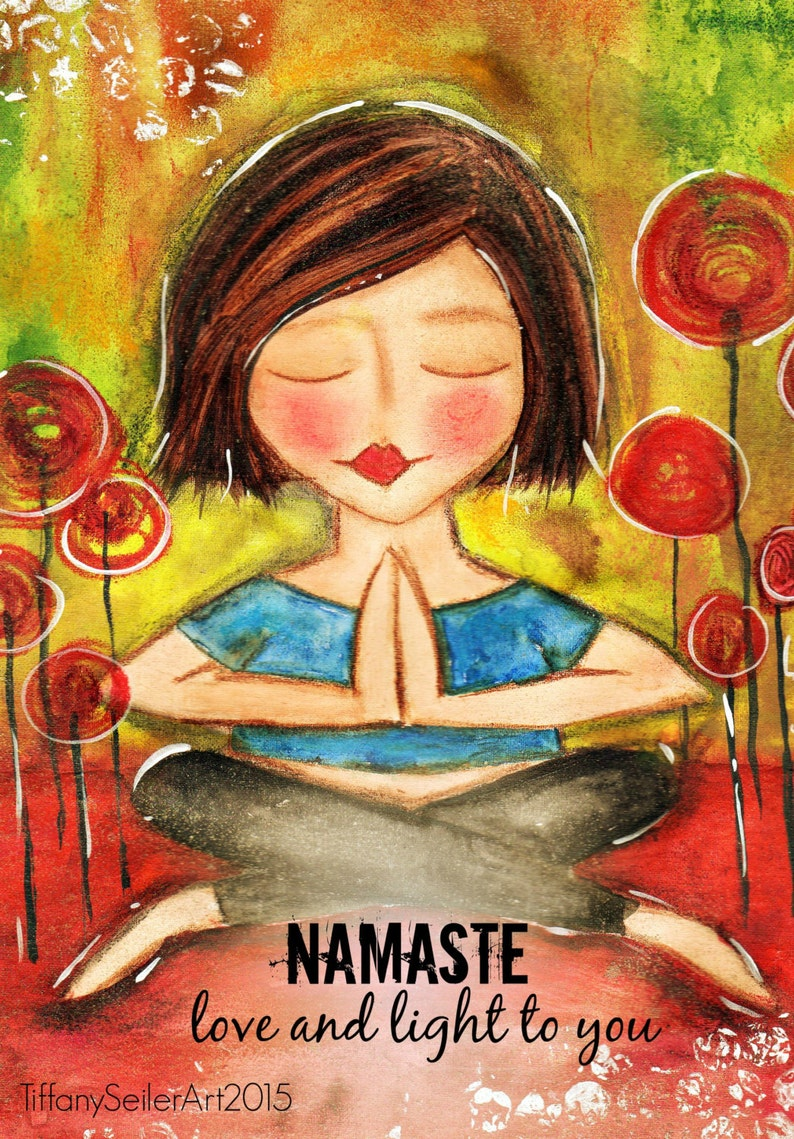 Love and Light to you NAMASTE yoga Art Card image 0