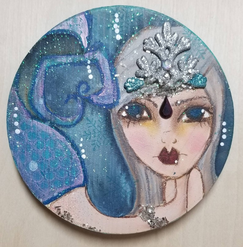 Icy mixed media mermaid. ORIGINAL painting on wood. image 0