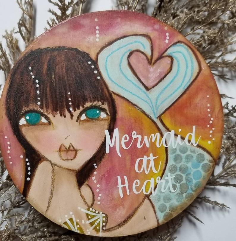 Mermaid at heart. ORIGINAL painting. Mixed media art. Dark image 0