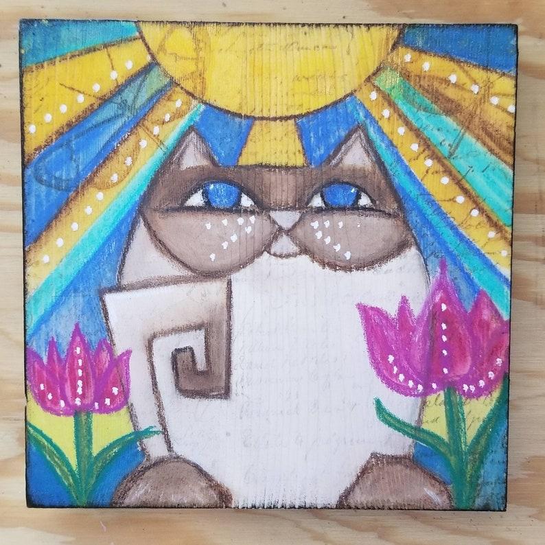 Zen Cat in sunshine. ORIGINAL painting. Siamese color image 0