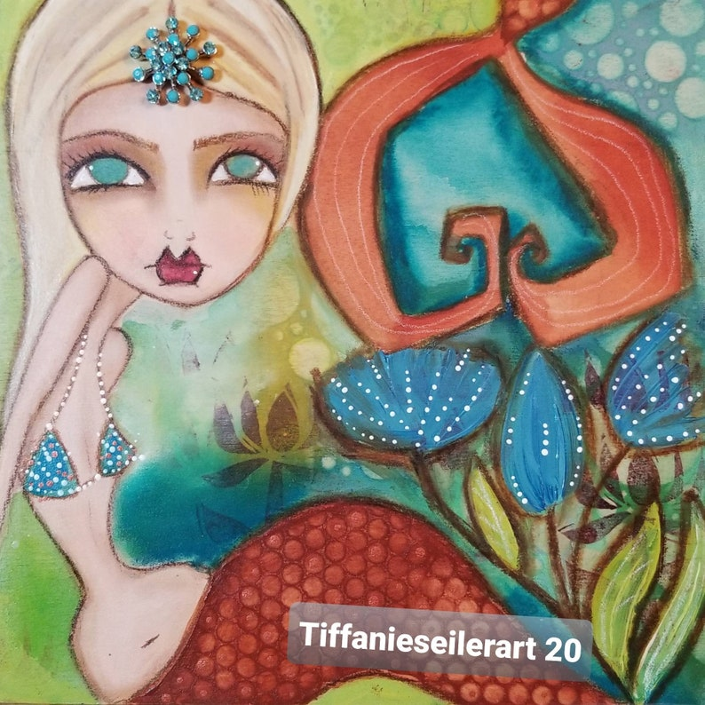 Vintage jewels 8x8 mermaid on wood. ORIGINAL painting image 0