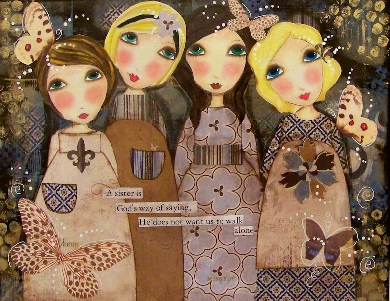 Four SISTERS 5x7 ART Card SET of 4 image 0