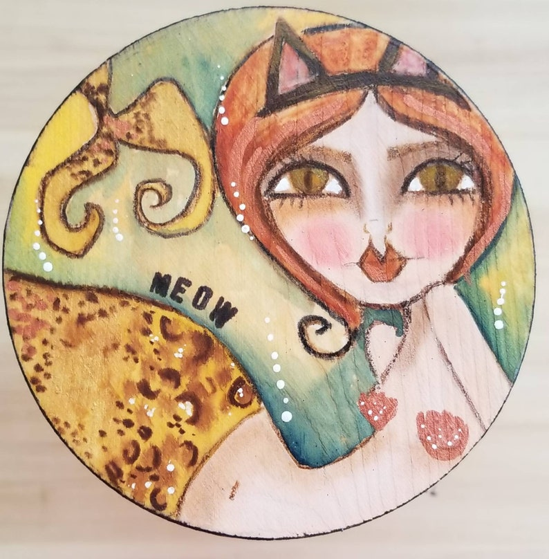 Meow the MER cat. ORIGINAL painting. Mini mixed media. image 0