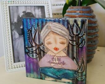 Yogi mini art block. Original painting