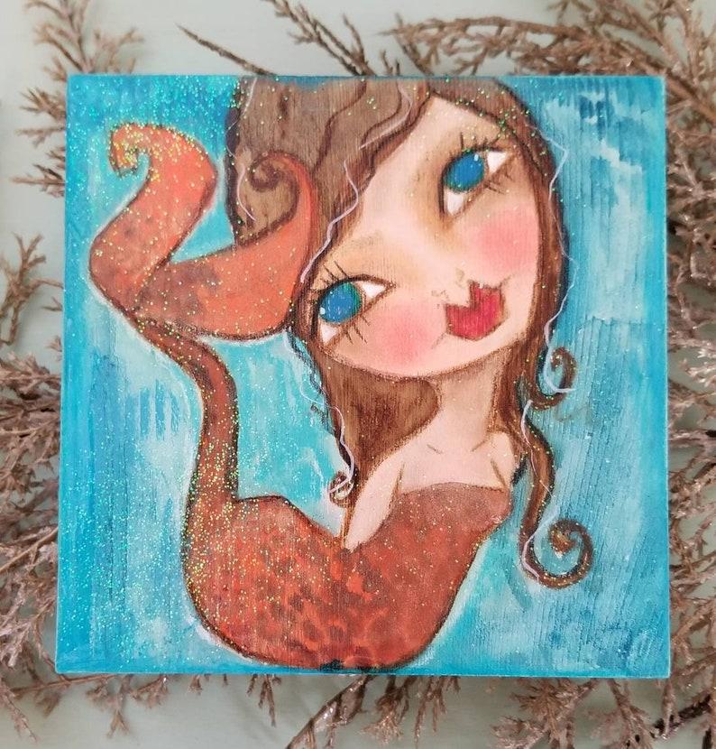 Brunette with blue eyes. Mini mermaid. ORIGINAL painting image 0