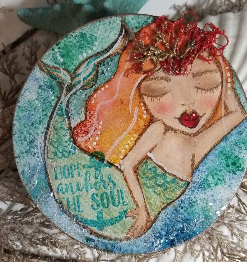 Hope Anchors the Soul. Mixed media mermaid art. ORIGINAL image 0