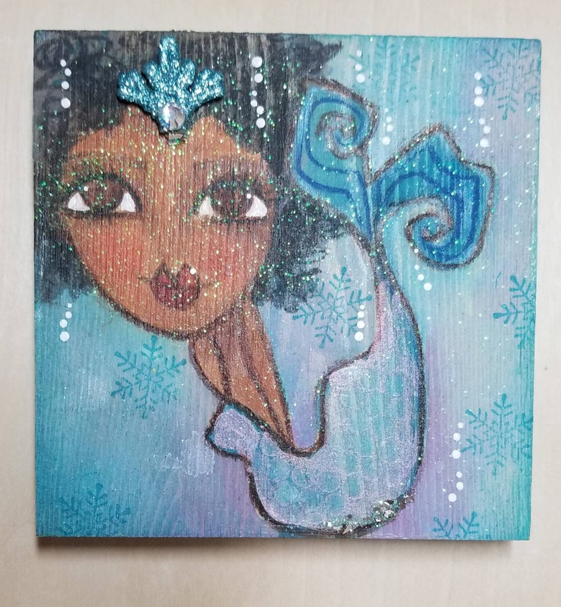 Frozen mixed media ORIGINAL art. Mini mermaid on wood. image 0