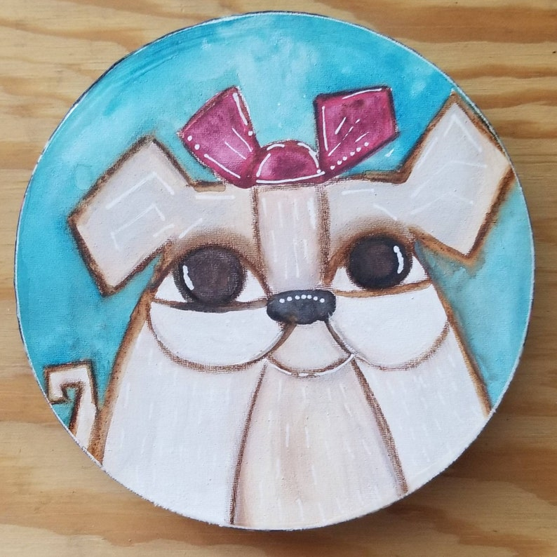 Pink bow pup. ORIGINAL painting on wood. image 0