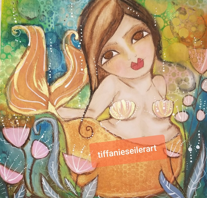 Curvy Mermazing mermaid. 12x12 ORIGINAL Art image 0