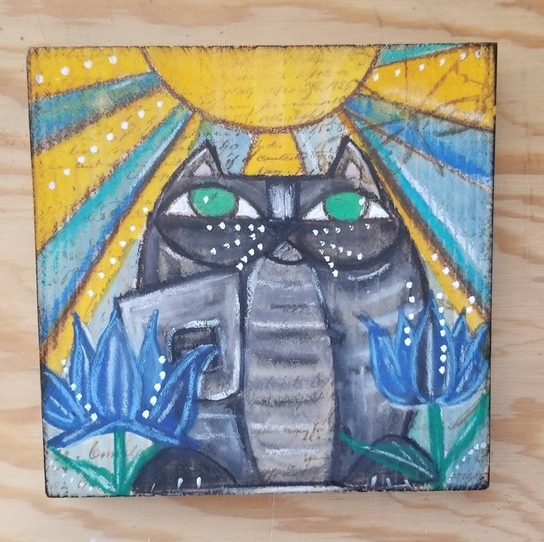 Zen cat in sunshine. ORIGINAL mini painting on wood. Grey image 0