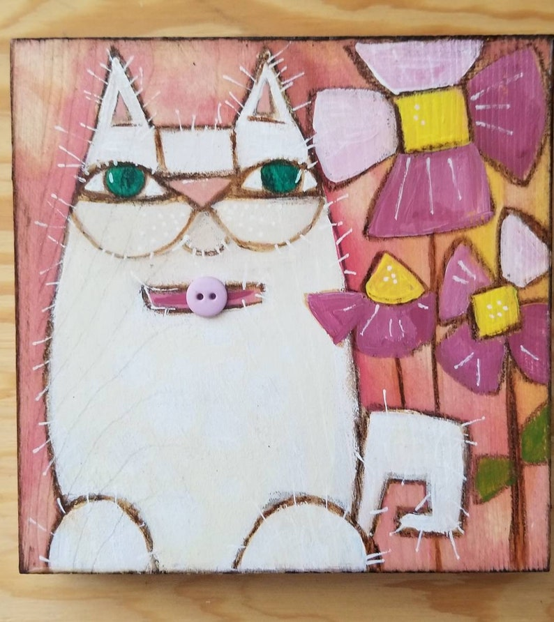 White cat in the garden. ORIGINAL painting on wood. image 0