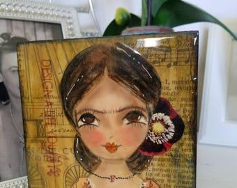 Frida art block mini original painting