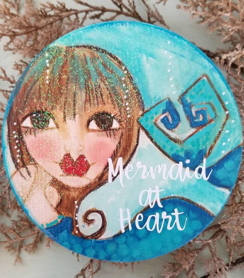 Mermaid at Heart. ORIGINAL painting. Mini mermaid image 0
