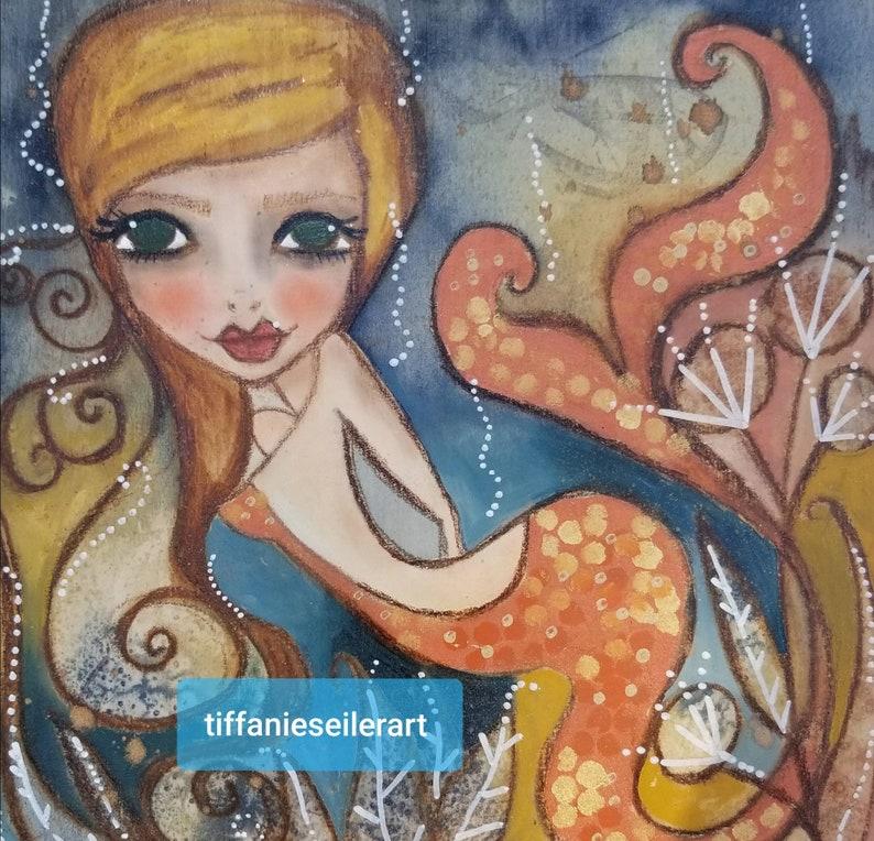 Arnette ORIGINAL mixed media mermaid. image 0
