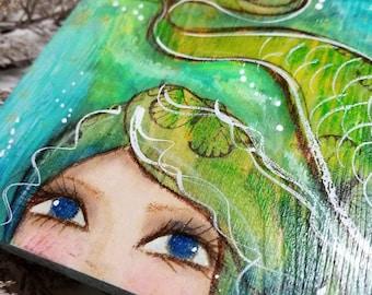 Peek A Boo Mermaid ORIGINAL mixed media art. Mini painting. Emerald & turquoise