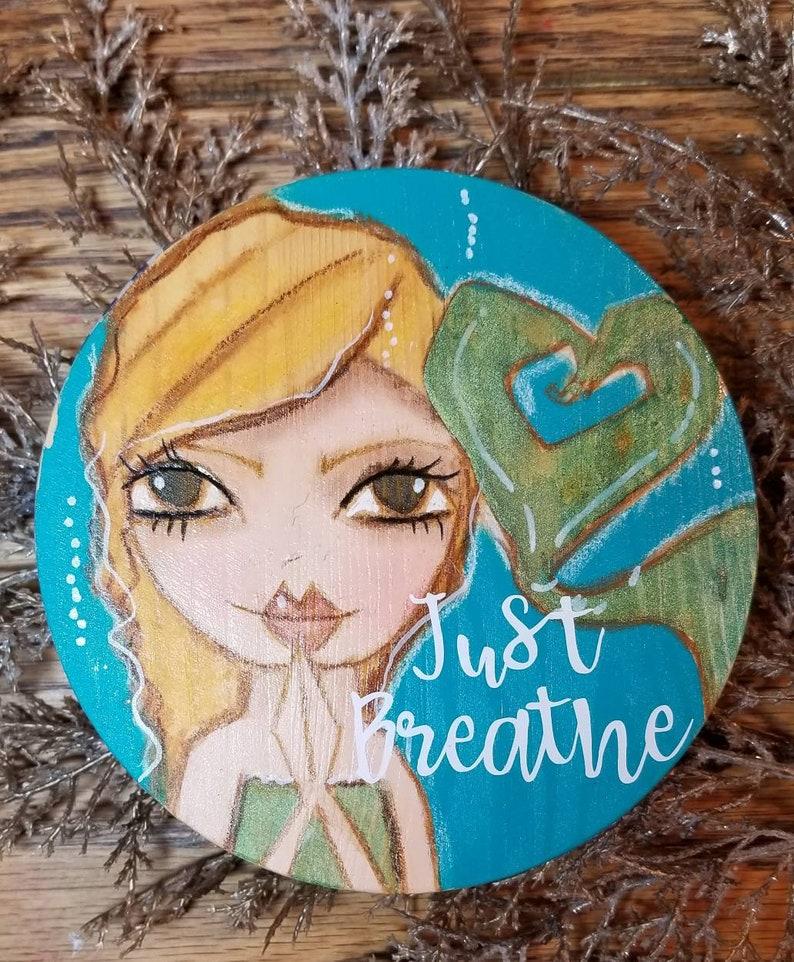 Just Breathe mini mermaid ORIGINAL painting on wood image 0