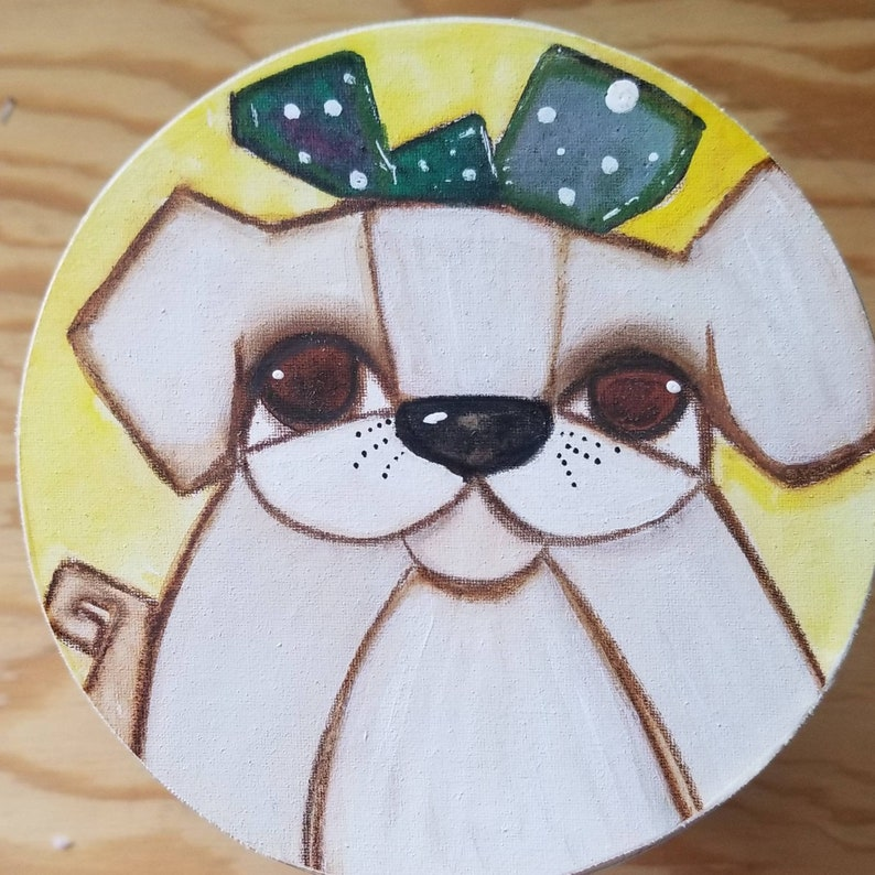 Pup with green bow. ORIGINAL painting on wood image 0