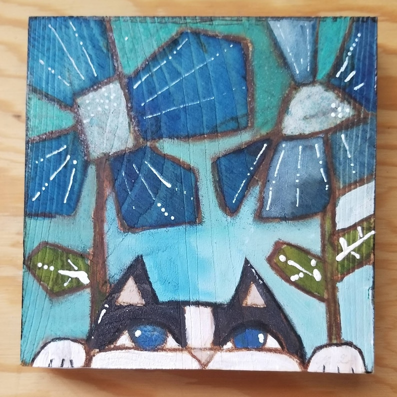 Peeking black and white cat. ORIGINAL painting on wood. image 0
