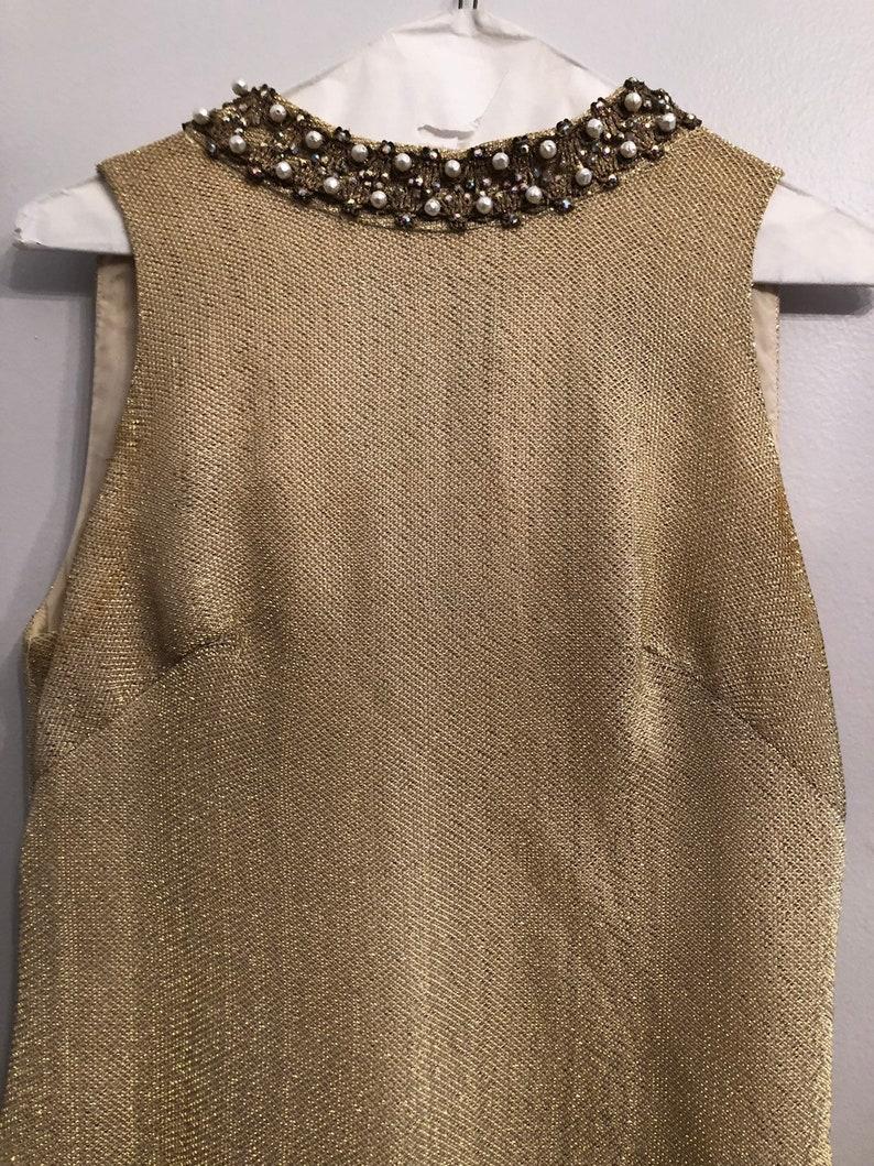 Vintage Gold  Lame Beaded Dress
